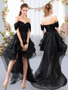 Extravagant Black Short Sleeves Tulle Lace Up Quinceanera Dama Dress for Prom and Party and Wedding Party