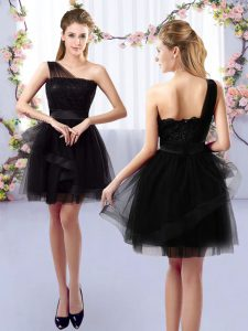 Tulle Sleeveless Mini Length Court Dresses for Sweet 16 and Lace