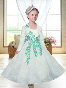 Ankle Length A-line Sleeveless White Flower Girl Dress Zipper