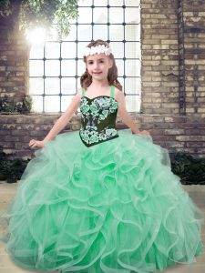 Tulle Straps Sleeveless Lace Up Embroidery and Ruffles Child Pageant Dress in Apple Green