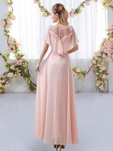 Chiffon Zipper Scoop Short Sleeves Floor Length Damas Dress Appliques