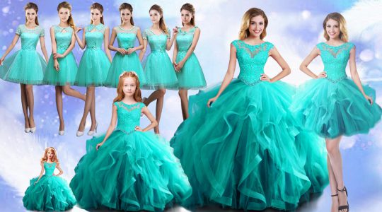Aqua Blue Ball Gowns Scoop Cap Sleeves Beading Lace Up 15th Birthday Dress