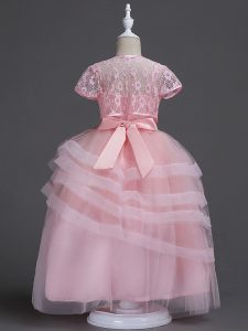 Baby Pink Toddler Flower Girl Dress Wedding Party with Appliques Spaghetti Straps Sleeveless Zipper