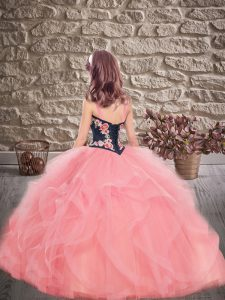 Customized Sleeveless Tulle Floor Length Lace Up Little Girls Pageant Dress Wholesale in Gold with Embroidery and Ruffles