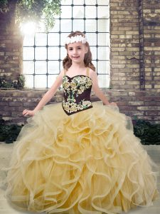 Champagne Ball Gowns Embroidery and Ruffles Little Girl Pageant Gowns Lace Up Tulle Sleeveless Floor Length