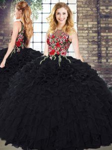 New Arrival Black Sleeveless Embroidery and Ruffles Floor Length Vestidos de Quinceanera