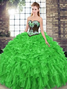 New Arrival Sweetheart Sleeveless Organza Quinceanera Gown Embroidery and Ruffles Sweep Train Lace Up