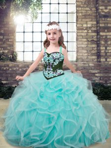 Custom Fit Sleeveless Tulle Floor Length Lace Up Little Girls Pageant Gowns in Aqua Blue with Embroidery and Ruffles