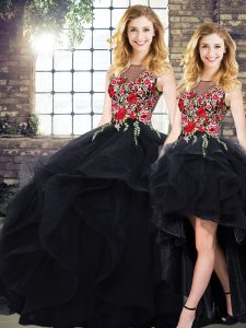 Black Lace Up Bateau Beading and Embroidery Quince Ball Gowns Tulle Sleeveless