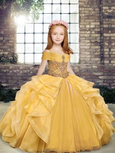 Off The Shoulder Sleeveless Lace Up Girls Pageant Dresses Gold Organza