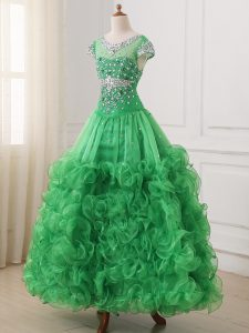 Customized Green Cap Sleeves Floor Length Beading and Ruffles Lace Up Little Girl Pageant Dress