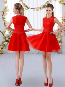 Nice Sleeveless Chiffon Mini Length Zipper Court Dresses for Sweet 16 in Red with Lace