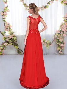 Chiffon V-neck Sleeveless Side Zipper Beading and Appliques Quinceanera Court of Honor Dress in Red