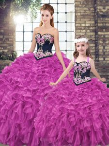 Fuchsia Sleeveless Embroidery and Ruffles Lace Up Vestidos de Quinceanera