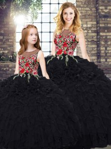 Excellent Black Scoop Neckline Embroidery and Ruffles 15 Quinceanera Dress Sleeveless Zipper