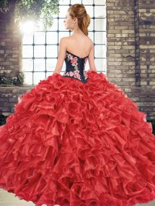 Graceful Fuchsia Sleeveless Embroidery and Ruffles Lace Up Quinceanera Gown