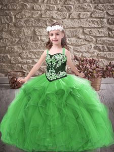 Modern Straps Sleeveless Pageant Gowns For Girls Floor Length Embroidery and Ruffles Green Tulle
