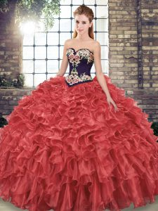 Stunning Sweep Train Ball Gowns Quinceanera Dress Red Sweetheart Organza Sleeveless Lace Up