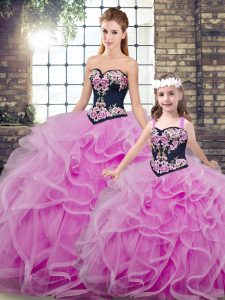 Lilac Tulle Lace Up Sweetheart Sleeveless Sweet 16 Dress Sweep Train Embroidery and Ruffles