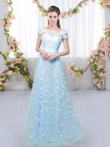 New Style Blue Empire Appliques Dama Dress Lace Up Tulle Cap Sleeves Floor Length