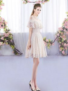 Fancy Champagne Short Sleeves Lace Up Vestidos de Damas for Prom and Party and Wedding Party