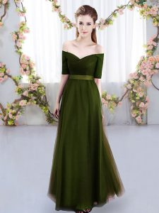Pretty Short Sleeves Floor Length Ruching Lace Up Court Dresses for Sweet 16 with Olive Green