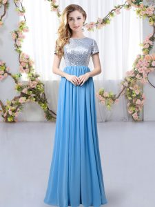 Blue Scoop Neckline Sequins Quinceanera Court of Honor Dress Short Sleeves Zipper