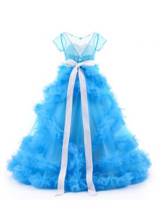 Hot Sale Tulle Short Sleeves Floor Length Little Girls Pageant Dress and Beading and Ruffles
