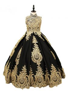 High-neck Sleeveless Child Pageant Dress Floor Length Beading Black Satin