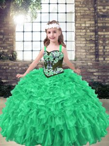 Enchanting Green Girls Pageant Dresses Party and Wedding Party with Embroidery and Ruffles Straps Sleeveless Lace Up