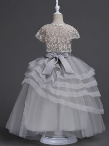 Lovely Sleeveless Zipper Floor Length Appliques and Ruffled Layers Flower Girl Dresses for Less