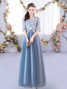 New Style Blue A-line Tulle Scoop Half Sleeves Lace Floor Length Lace Up Dama Dress for Quinceanera