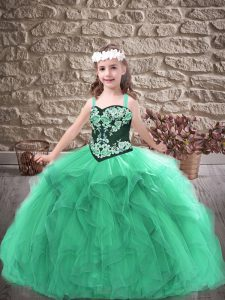 Straps Sleeveless Lace Up Little Girls Pageant Dress Wholesale Turquoise Tulle