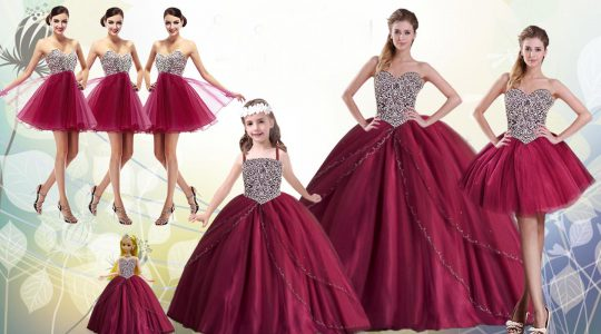 Gorgeous Red Sweetheart Neckline Beading Quinceanera Dresses Sleeveless Lace Up