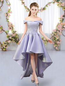 High Quality Lavender Sleeveless High Low Appliques Lace Up Quinceanera Court Dresses