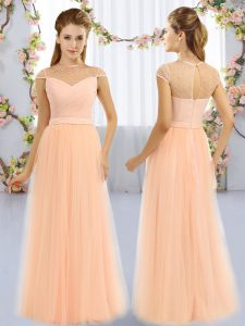 Elegant Peach Tulle Zipper Quinceanera Court of Honor Dress Cap Sleeves Floor Length Beading