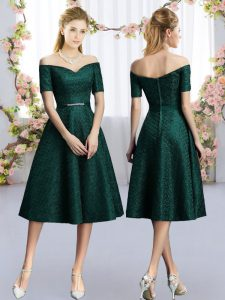 Tea Length Dama Dress Dark Green for Prom and Party and Wedding Party with Belt
