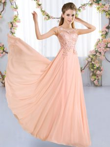 Beautiful Peach Lace Up Dama Dress for Quinceanera Lace Sleeveless Floor Length