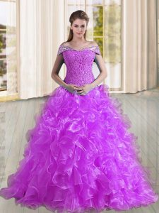 Purple Sleeveless Sweep Train Beading and Lace and Ruffles Sweet 16 Quinceanera Dress
