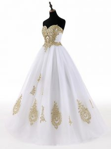Wonderful A-line 15th Birthday Dress White Sweetheart Tulle Sleeveless Floor Length Lace Up
