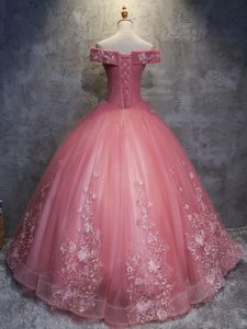 Floor Length Ball Gowns Sleeveless Watermelon Red Quinceanera Dresses Lace Up