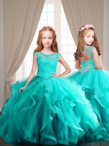 High Class Aqua Blue Lace Up Scoop Cap Sleeves Ball Gown Prom Dress Beading