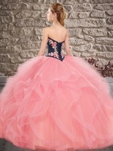 Custom Fit Floor Length Lace Up 15th Birthday Dress Orange for Sweet 16 and Quinceanera with Beading and Embroidery