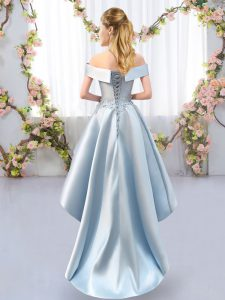 Noble Green Sleeveless Appliques High Low Quinceanera Court of Honor Dress