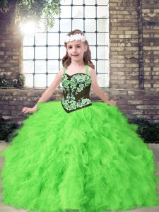 High Class Sleeveless Floor Length Embroidery and Ruffles Lace Up Kids Formal Wear