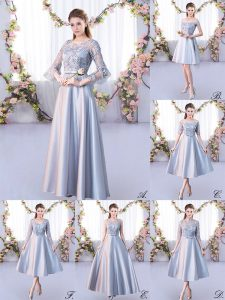 Silver A-line Scoop 3 4 Length Sleeve Satin Floor Length Lace Up Lace Dama Dress for Quinceanera