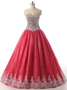 Customized Beading and Appliques Quinceanera Dresses Coral Red Lace Up Sleeveless Floor Length