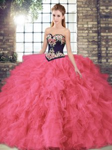 Popular Hot Pink Ball Gowns Tulle Sweetheart Sleeveless Beading and Embroidery Floor Length Lace Up 15th Birthday Dress