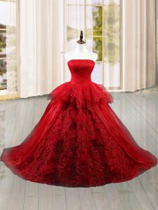 Edgy Wine Red Ball Gowns Tulle Strapless Sleeveless Lace and Ruffles Lace Up Quince Ball Gowns Brush Train