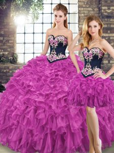 Dazzling Sleeveless Organza Floor Length Lace Up 15 Quinceanera Dress in Fuchsia with Embroidery and Ruffles